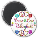 PEACE LOVE VOLLEYBALL 2 INCH ROUND MAGNET