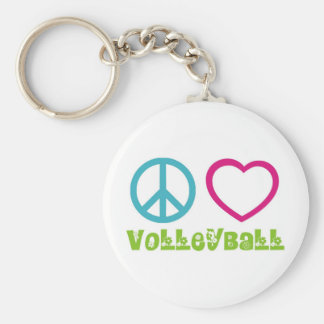 Peace Love Volleyball Basic Round Button Keychain