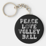 Peace, Love, Volleyball Basic Round Button Keychain