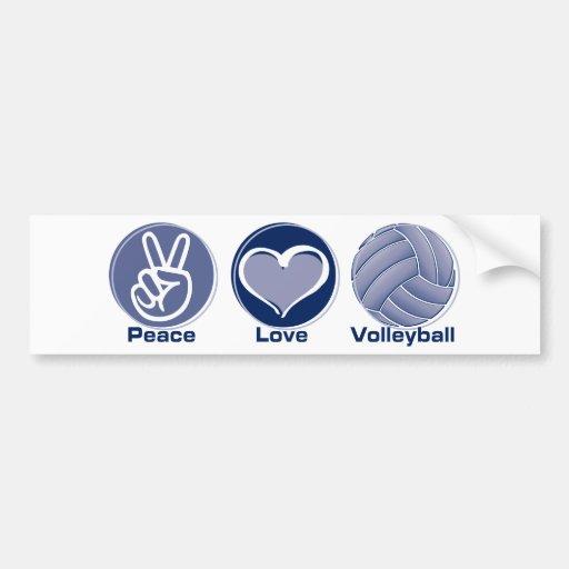 Peace Love Volleyball Car Bumper Sticker