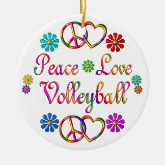 PEACE LOVE VOLLEYBALL CERAMIC ORNAMENT