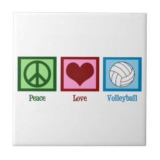 Peace Love Volleyball Ceramic Tile