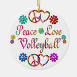 PEACE LOVE VOLLEYBALL CHRISTMAS ORNAMENTS