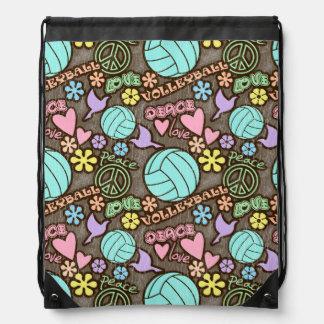 Peace, Love, Volleyball Drawstring Backpacks