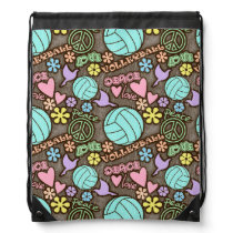 Peace, Love, Volleyball Drawstring Bag