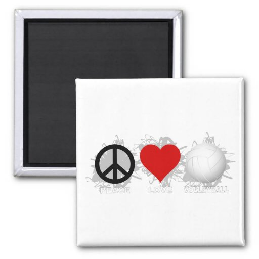 Peace Love Volleyball  Emblem 1 2 Inch Square Magnet