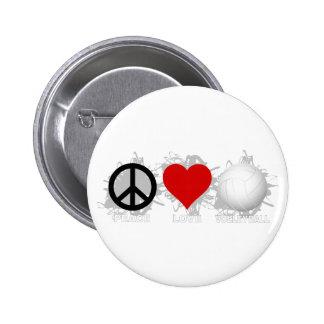 Peace Love Volleyball  Emblem 1 Buttons