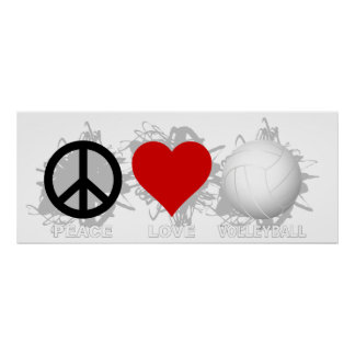 Peace Love Volleyball  Emblem 1 Poster