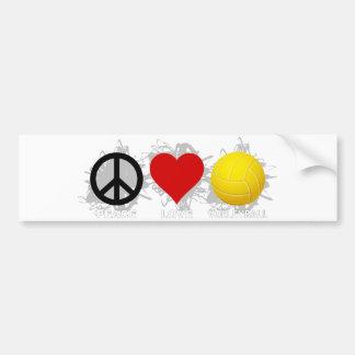 Peace Love Volleyball  Emblem 2 Bumper Sticker