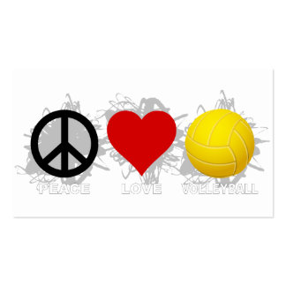 Peace Love Volleyball Emblem 2 Business Card Templates
