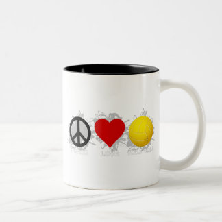 Peace Love Volleyball  Emblem 2 Two-Tone Coffee Mug