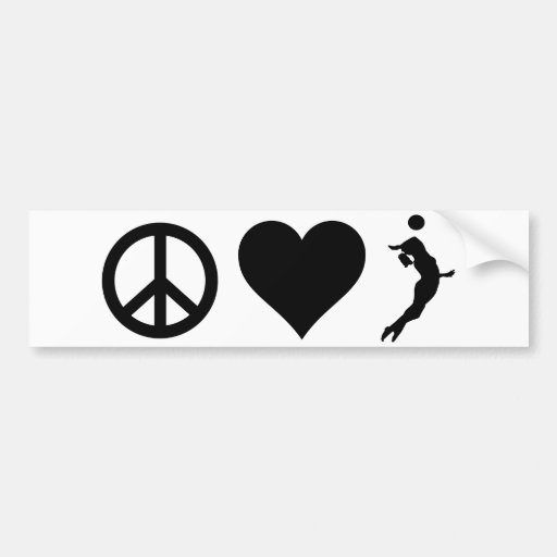 Peace Love Volleyball (Female) Car Bumper Sticker