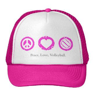 Peace, Love, Volleyball Final Pink Trucker Hat