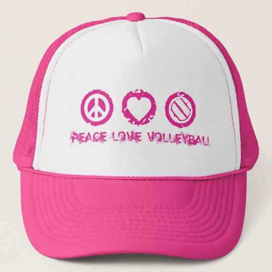 Peace, Love, Volleyball Final Pink v2 Trucker Hat