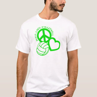 Peace-Love-Volleyball. green T-Shirt
