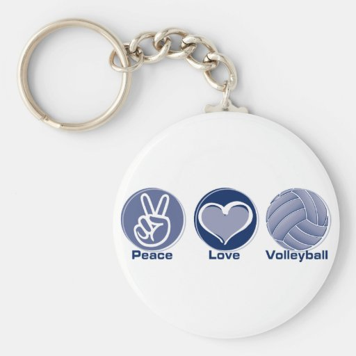 Peace Love Volleyball Keychain