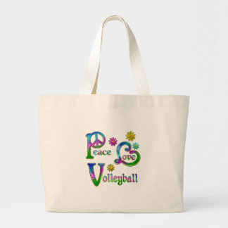Peace Love Volleyball Large Tote Bag