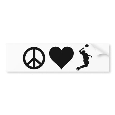 Beach Themed Peace Love Volleyball (Male) Bumper Sticker