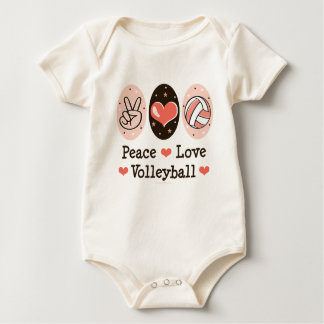 Peace Love Volleyball Organic Baby Bodysuit