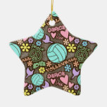 Peace, Love, Volleyball Double-Sided Star Ceramic Christmas Ornament