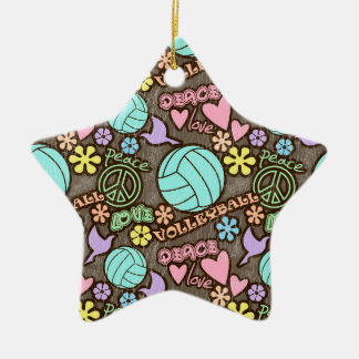 Peace, Love, Volleyball Ornaments