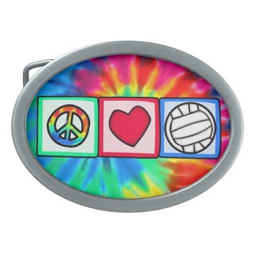 Peace, Love, Volleyball Oval Belt Buckle