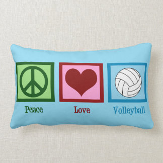 Peace Love Volleyball Personalized Blue Lumbar Pillow