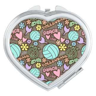 Peace, Love, Volleyball Makeup Mirror