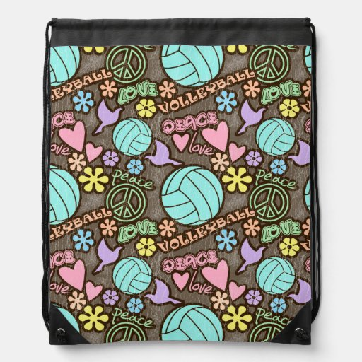 Peace, Love, Volleyball Drawstring Bags