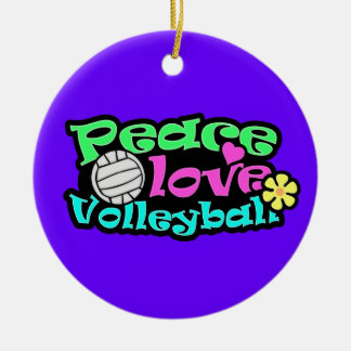 Peace, Love, Volleyball; Retro Ornaments