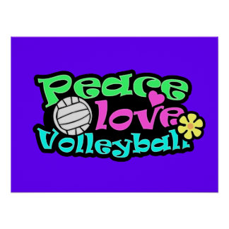 Peace, Love, Volleyball; Retro Poster