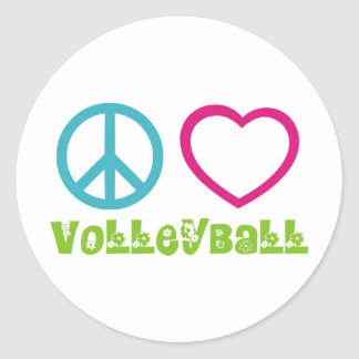 Peace Love Volleyball Round Stickers