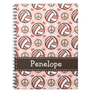 Peace Love Volleyball Spiral Notebook Journal