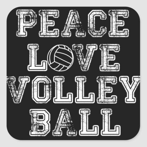 Peace, Love, Volleyball Square Stickers