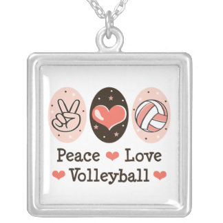 Peace Love Volleyball Sterling Silver Necklace