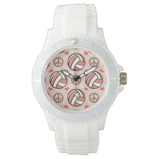 Peace Love Volleyball Wrist Watches