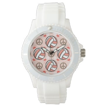 Beach Themed Peace Love Volleyball Wrist Watches