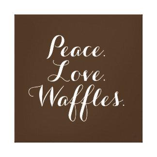 "Peace. Love. Waffles. 12""x12"" Wall Art. Canvas Print"