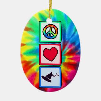 Peace, Love, Wakeboarding Ceramic Ornament