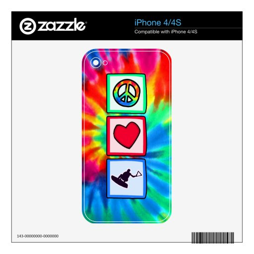Peace, Love, Wakeboarding Decals For iPhone 4S