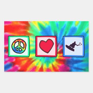 Peace, Love, Wakeboarding Rectangular Sticker