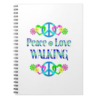 Peace Love Walking Spiral Notebook