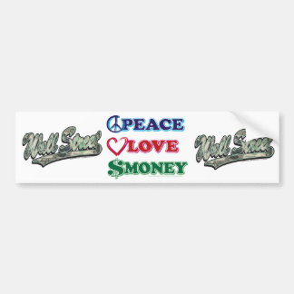 Peace-Love-Wall-Money Car Bumper Sticker