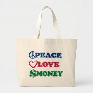 Peace-Love-Wall-Money Jumbo Tote Bag