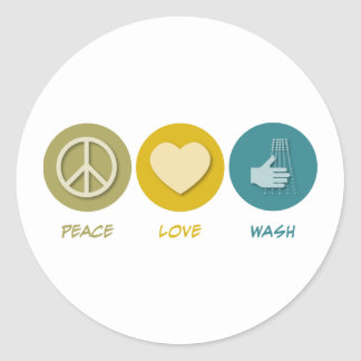 Peace Love Wash Classic Round Sticker