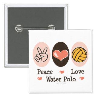 Peace Love Water Polo Button