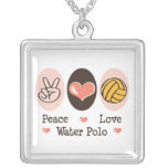 Peace Love Water Polo Sterling Silver Pendant Neck