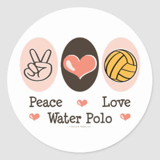 Peace Love Water Polo Stickers