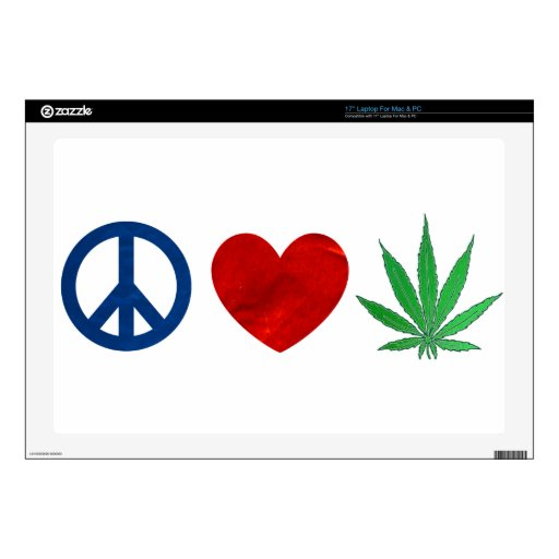 """Peace, love, weed skins for 17"""" laptops"""