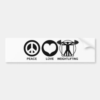 Peace Love Weightlifting Bumper Sticker